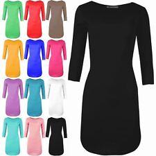 Ladies Womens Bandage 3/4 Sleeve Bodycon Curved Hem Mini Dress Plus Size 8-26