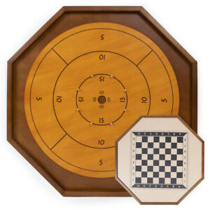 27 Inch Wooden Tournament Crokinole & Checkers Double Sided Game Board New