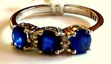 New Design Fashion 925 Sterling Silver Natural Blue Sapphire & C Z  Female Ring