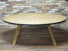 INDUSTRIAL RETRO VINTAGE RECLAIMED WOOD METAL OVAL DINING KITCHEN TABLE (DX4338)