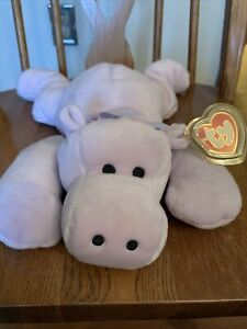 """Ty Pillow Pal Tubby The Purple Hippo Mint With Mint Tags 16"""" Long"""