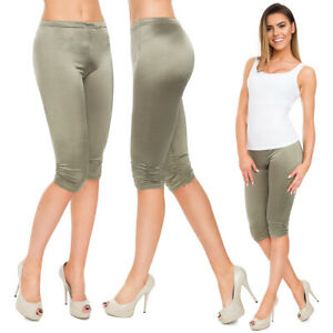 Ladies Party Style Metallic Capri Leggings Wet Look Draped One Size Pants FS1002