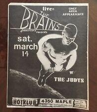 Vintage RARE The Brains The Judys Hot Klub Flyer MAN CAVE DECOR Dallas Texas