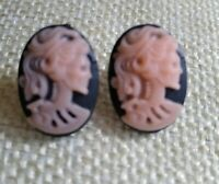steampunk gothic stud earrings cameo pink skull day of the dead hypoallergenic