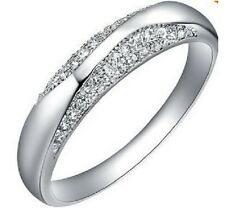 SILVER, PLATINUM PLATED CZ CRYSTAL ENGAGEMENT RING. SIZE N, Q