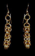 Chainmaille Gold Filled Byzantine Earrings. 1 5/8 inches.