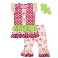 NEW Boutique Girls Pink Ruffle Tunic Dress Floral Leggings Headband Outfit Set