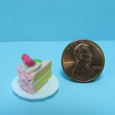 Dollhouse Miniature Slice of Cake Pink Frosting with Roses on Top