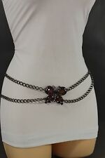 Women Belt High Waist Hip Metal Chain Fashion Red Beads Big Butterfly Buckle S M