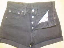 "NWT LEVI 501 BLACK DENIM SHORTS SIZE 8 W27"" HIGH WAIST/CUT OFF"