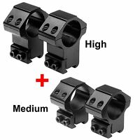 1 in. Aluminum Rifle Scope Mount Rings 3/8 in. Dovetail High & Medium pack of 4