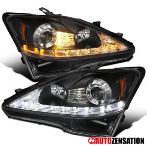 For 2006-2009 Lexus IS250 IS350 Black Projector Headlights+LED Signal Left+Right