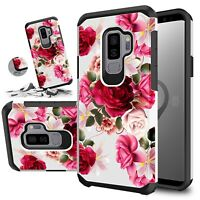 Phone Case For Samsung Galaxy S9 / S9 Plus Red Floral Shockproof Cover