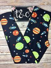 NWT TC Planet Galaxy Printed Navy Leggings Plus Fits Size 12-18 Buttery Soft