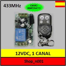RECEPTOR 1 CANAL 12VDC 433MHZ + MANDOS PUERTA GARAJE ETC 12V DC