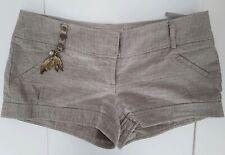River  Island Beige Gold Speckled Shorts Hotpants 10 Summer Holiday
