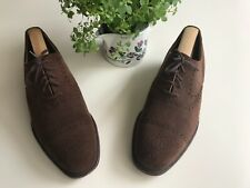 Men's brown suede semi-brogue shoes