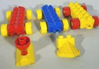 Duplo Train Car Base Wheels 2 x 6 Lot of 3 Smokestack Cow Plow Red Yellow Blue