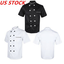 US Double-Breasted Short Sleeve Chef Coat Women Men Kitchen Hotel Cotton Uniform
