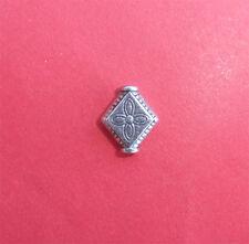 25 x Tibetan Silver Diamond Shaped Patterned Beads - 10mm