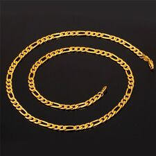 "REAL18K GOLD FILLED MENS/ LADIES UNISEX CHAIN NECKLACE 24"" FIGARO MENS GIFT"