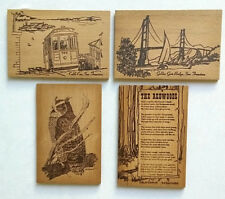 4 Four Vintage Real Redwood Wood Postcards Muir Woods National Monument