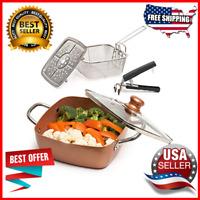 5 Pcs Set Chef Cookware Non Stick Pan Deep Square Pan Fry Basket Steamer Rack
