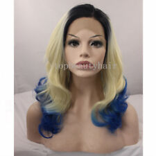 18''  Black Blonde Blue 3 Tone Color Wavy Lace Front Synthetic Hair Wigs