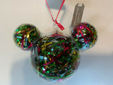 DISNEY Parks MICKEY MOUSE Icon RIBBON Clear Glass Christmas Ornament NEW