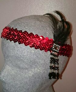 1920'S FLAPPER/ CHARLESTON HEAD DRESS. RED & BLACK