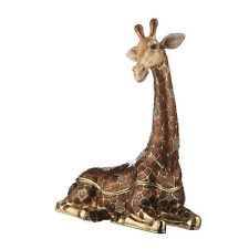Decorative Enamel Faberge Trinket Jewel Box Lying Giraffe 7.3'' x 2.8'' x 5.9''
