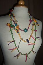 Vintage 1970's Wood Bird Necklace Hand Painted