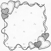 Unmounted Rubber Stamps, Valentines Day,  Hearts Frame, Whimsical Heart Frame,