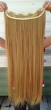 """Dark blonde 5 clips one piece straight 22"""" long clip in on hair extension"""