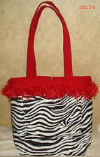 NEW  RED/ZEBRA TOTE BAG  GREAT FOR LITE TRIPS FREE SHIPPING