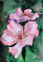 Spring Bloom watercolor original flower painting nature garden summer blossoming