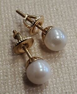 ESTATE 14K Yellow Gold 6mm White Pearl Stud Screw back Earrings 1.6 GRAMS