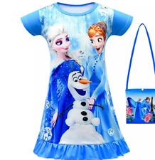 GIRLS Elsa  Anna DRESS WITH  Shoulder Bag Casual Dresses 6-7T 2 PCS