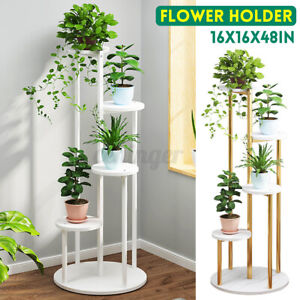 Wood Plant Pot Holder White Marble Flower Display Stand Shelf Indoor Outdoor AU