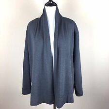 Coldwater Creek Gray Jersey Long Sleeve Open Cardigan Sweater Womens 1X 18W