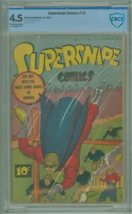 Supersnipe Comics # 12 CBCS 4.5 VG+ Street & Smith 1943 George Marcoux