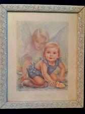 """Vintage Framed """"HER Guardian Angel"""" Print Artist Erna Kasabach 9.25""""x11.25"""""""