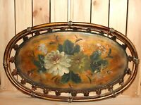 Vintage hand painted floral metal tole serving tray