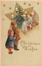 Christmas Wishes Angel Tree Star Children Antique Postcard K60475