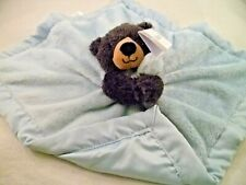 CARTERS  BABY  BLACK BEAR  BLUE  SECURITY SNUGGLE BLANKET PLUSH  SATIN LOVEY