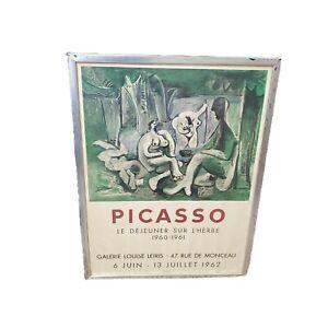 """1962 PICASSO LE DEJEUNER SUR LÍHERBE MOURLOT ORIGINAL EXHIBITION POSTER  28""""x21"""""""