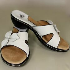 Sofft White Leather Sandals 6M Shoes Flower Wedge Heel Slip On Slides 1201904