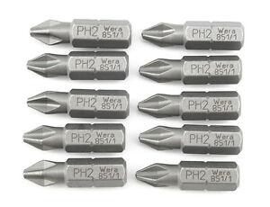 """10x WERA 1/4"""" Phillips Bit in der Größe PH2 zähhart - (Bits, Biteinsatz)"""