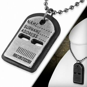 Alloy Name Barcode Black Leather Tag Charm Necklace Of Link Of Ball Military C