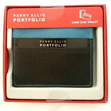 Perry Ellis Portfolio Men's Fabric Mini Card Case Wallet Black Teal Gift